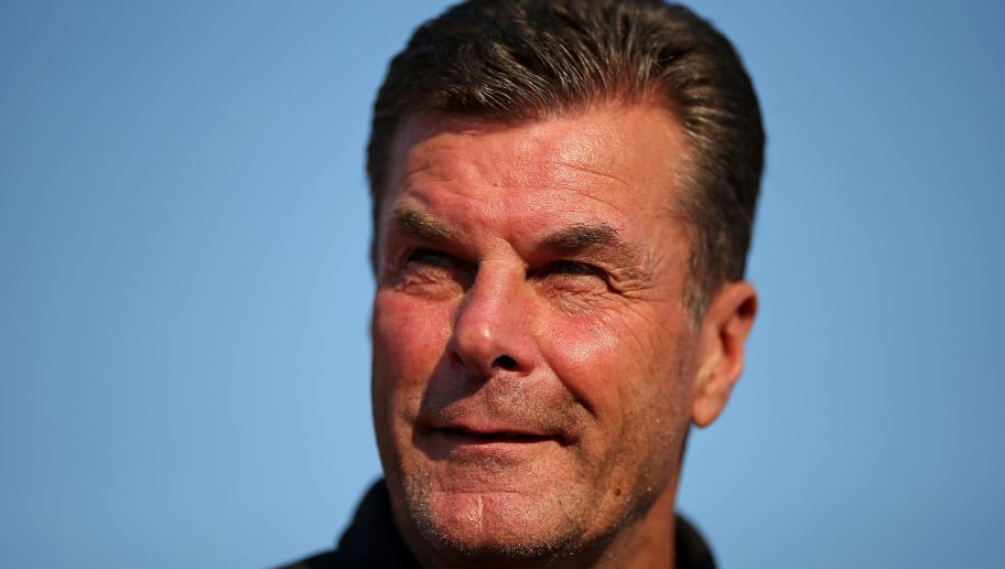BREMEN, GERMANY - AUGUST 19: Dieter Hecking, head coach of Borussia Moenchengladbach looks on during the DFB Cup first round match between BSC Hastedt and Borussia Moenchengladbach at stadium Platz 11 on August 19, 2018 in Bremen, Germany. (Photo by Cathrin Mueller/Bongarts/Getty Images)