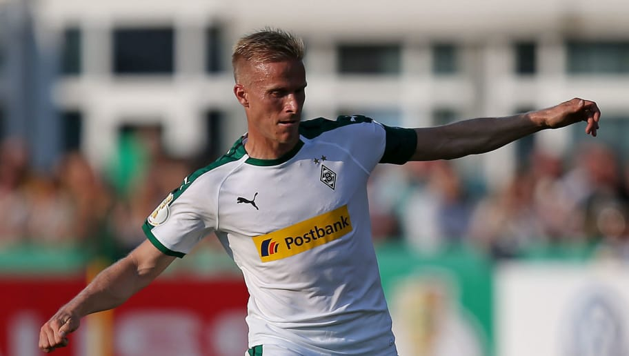 BREMEN, GERMANY - AUGUST 19: Oscar Wendt of Borussia Moenchengladbach in action during the DFB Cup first round match between BSC Hastedt and Borussia Moenchengladbach at stadium Platz 11 on August 19, 2018 in Bremen, Germany. (Photo by Cathrin Mueller/Bongarts/Getty Images)