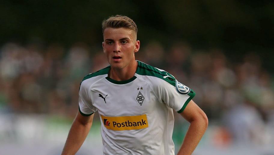 BREMEN, GERMANY - AUGUST 19: Jordan Louis Beyer of Borussia Moenchengladbach in action during the DFB Cup first round match between BSC Hastedt and Borussia Moenchengladbach at stadium Platz 11 on August 19, 2018 in Bremen, Germany. (Photo by Cathrin Mueller/Bongarts/Getty Images)
