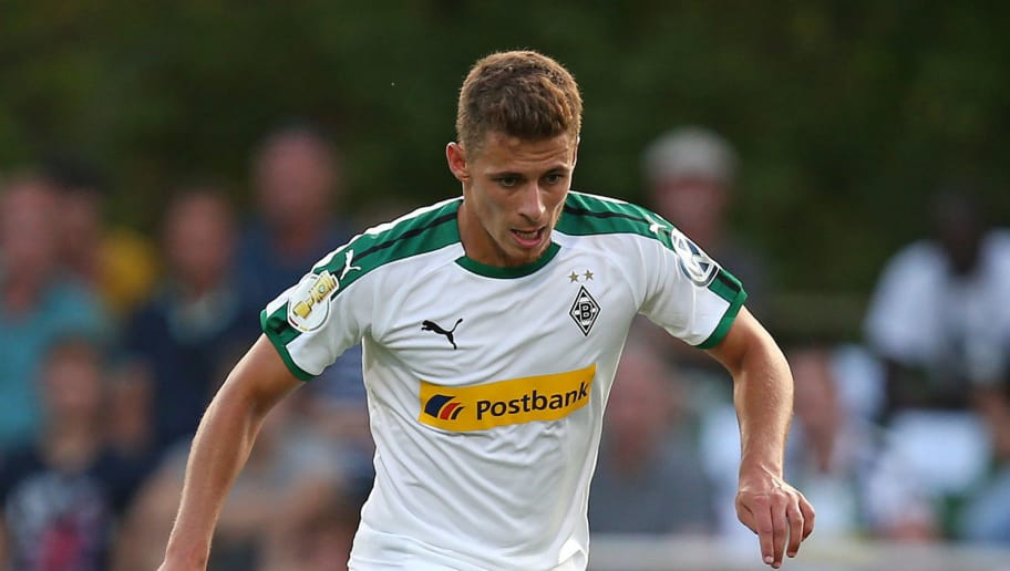 BREMEN, GERMANY - AUGUST 19: Thorgan Hazard of Borussia Moenchengladbach in action during the DFB Cup first round match between BSC Hastedt and Borussia Moenchengladbach at stadium Platz 11 on August 19, 2018 in Bremen, Germany. (Photo by Cathrin Mueller/Bongarts/Getty Images)