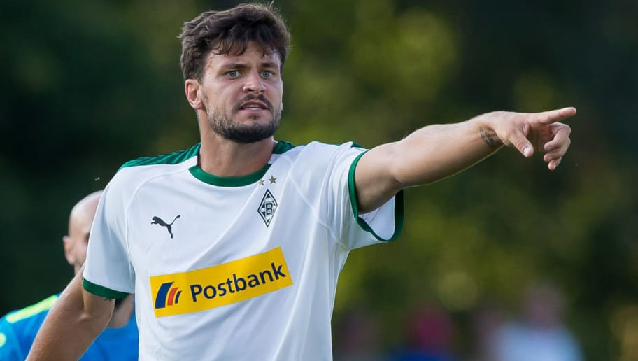 BREMEN, GERMANY - AUGUST 19: Tobias Strobl of Borussia Moenchengladbach gestures during the DFB Cup first round match between BSC Hastedt and Borussia Moenchengladbach at Weserstadion Platz 11 on August 19, 2018 in Bremen, Germany. (Photo by TF-Images/Getty Images)