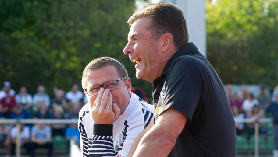 BREMEN, GERMANY - AUGUST 19: Max Eberl of Borussia Moenchengladbach and Head coach Dieter Hecking of Borussia Moenchengladbach looks on prior the DFB Cup first round match between BSC Hastedt and Borussia Moenchengladbach at Weserstadion Platz 11 on August 19, 2018 in Bremen, Germany. (Photo by TF-Images/Getty Images)