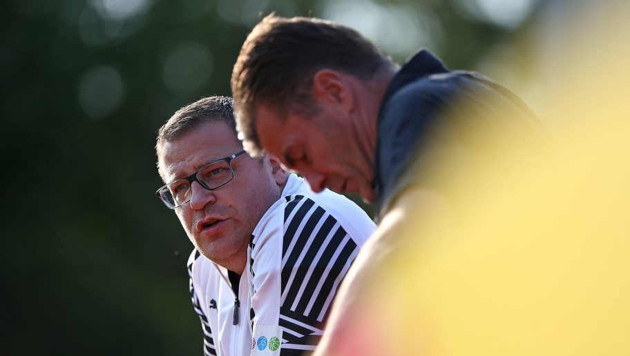 BREMEN, GERMANY - AUGUST 19: (L-R) Max Eberl, sports director and Dieter Hecking, head coach of Borussia Moenchengladbach during the DFB Cup first round match between BSC Hastedt and Borussia Moenchengladbach at stadium Platz 11 on August 19, 2018 in Bremen, Germany. (Photo by Cathrin Mueller/Bongarts/Getty Images)