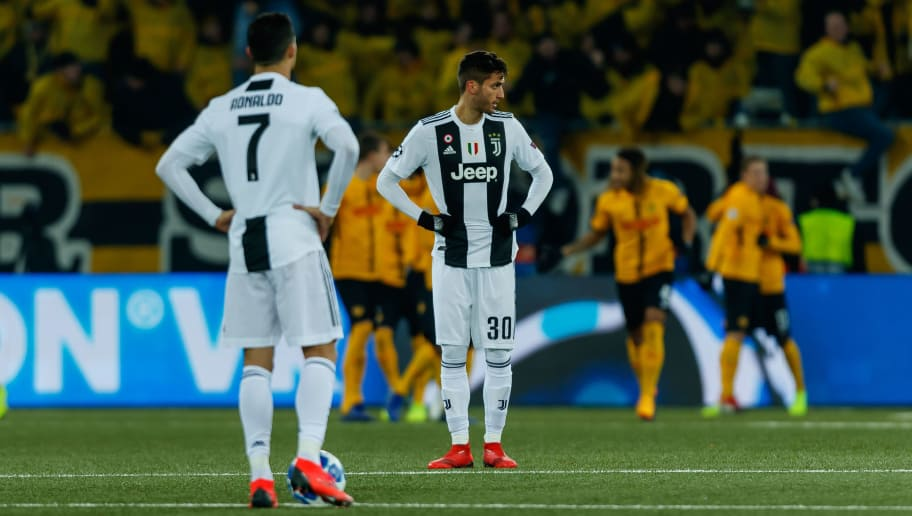 BERN, SWITZERLAND - DECEMBER 12: Cristiano Ronaldo of Juventus, Rodrigo Bentancur of Juventus look dejected during the UEFA Champions League Group H match between BSC Young Boys and Juventus at Stade de Suisse, Wankdorf on December 12, 2018 in Bern, Switzerland. (Photo by TF-Images/TF-Images via Getty Images)