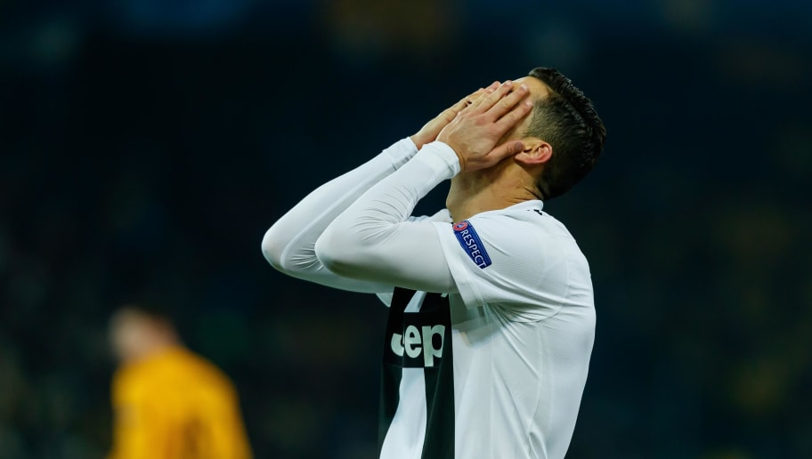 BERN, SWITZERLAND - DECEMBER 12: Cristiano Ronaldo of Juventus look dejected during the UEFA Champions League Group H match between BSC Young Boys and Juventus at Stade de Suisse, Wankdorf on December 12, 2018 in Bern, Switzerland. (Photo by TF-Images/TF-Images via Getty Images)