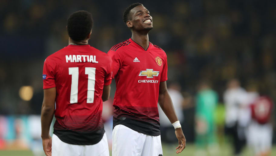 BERN, SWITZERLAND - SEPTEMBER 19:  Paul Pogba of Manchester United and Anthony Martial of Manchester United celebrate after the Group H match of the UEFA Champions League between BSC Young Boys and Manchester United at Stade de Suisse, Wankdorf on September 19, 2018 in Bern, Switzerland. (Photo by Christian Kaspar-Bartke/Getty Images)