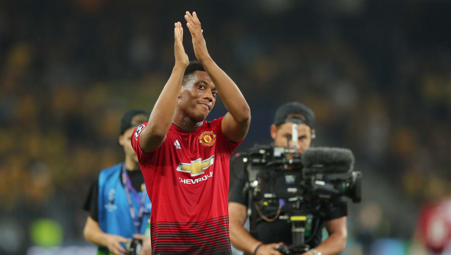 BERN, SWITZERLAND - SEPTEMBER 19:  Anthony Martial of Manchester United thanks to the fans after the Group H match of the UEFA Champions League between BSC Young Boys and Manchester United at Stade de Suisse, Wankdorf on September 19, 2018 in Bern, Switzerland. (Photo by Christian Kaspar-Bartke/Getty Images)