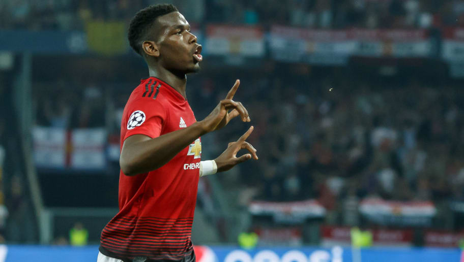 BERN, SWITZERLAND - SEPTEMBER 19: Paul Pogba of Manchester United celebrates after scoring his team`s first goal during the UEFA Champions League Group H match between BSC Young Boys and Manchester United at Stade de Suisse, Wankdorf on September 19, 2018 in Bern, Switzerland. (Photo by TF-Images/Getty Images)