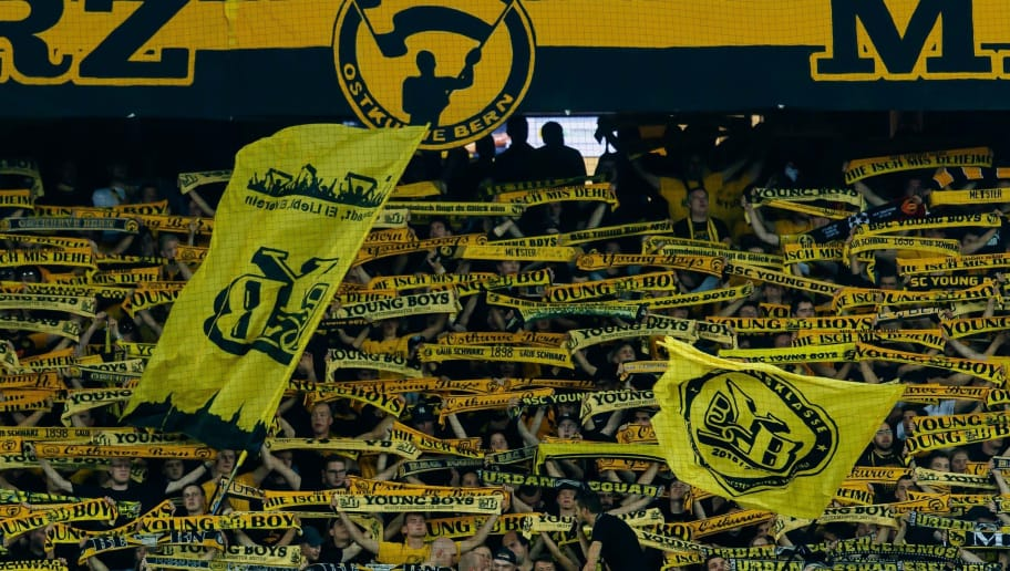 BERN, SWITZERLAND - SEPTEMBER 19: Supporters of BSC Young Boys are seen during the UEFA Champions League Group H match between BSC Young Boys and Manchester United at Stade de Suisse, Wankdorf on September 19, 2018 in Bern, Switzerland. (Photo by TF-Images/Getty Images)