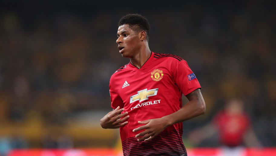 BERN, SWITZERLAND - SEPTEMBER 19: Marcus Rashford of Manchester United during the Group H match of the UEFA Champions League between BSC Young Boys and Manchester United at Stade de Suisse, Wankdorf on September 19, 2018 in Bern, Switzerland. (Photo by James Williamson - AMA/Getty Images)