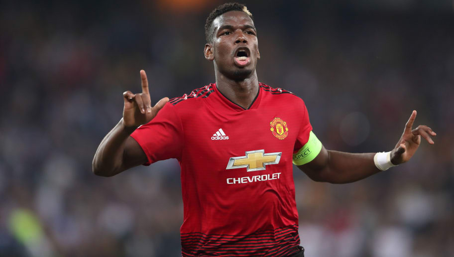 BERN, SWITZERLAND - SEPTEMBER 19: Paul Pogba of Manchester United celebrates after scoring a goal to make it 1-0 during the Group H match of the UEFA Champions League between BSC Young Boys and Manchester United at Stade de Suisse, Wankdorf on September 19, 2018 in Bern, Switzerland. (Photo by James Williamson - AMA/Getty Images)