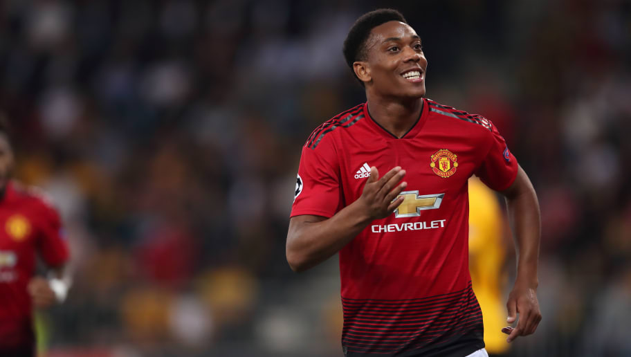 BERN, SWITZERLAND - SEPTEMBER 19: Anthony Martial of Manchester United celebrates after scoring a goal to make it 3-0 during the Group H match of the UEFA Champions League between BSC Young Boys and Manchester United at Stade de Suisse, Wankdorf on September 19, 2018 in Bern, Switzerland. (Photo by James Williamson - AMA/Getty Images)