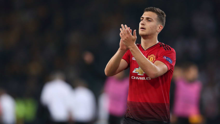 BERN, SWITZERLAND - SEPTEMBER 19: Diogo Dalot of Manchester United during the Group H match of the UEFA Champions League between BSC Young Boys and Manchester United at Stade de Suisse, Wankdorf on September 19, 2018 in Bern, Switzerland. (Photo by James Williamson - AMA/Getty Images)