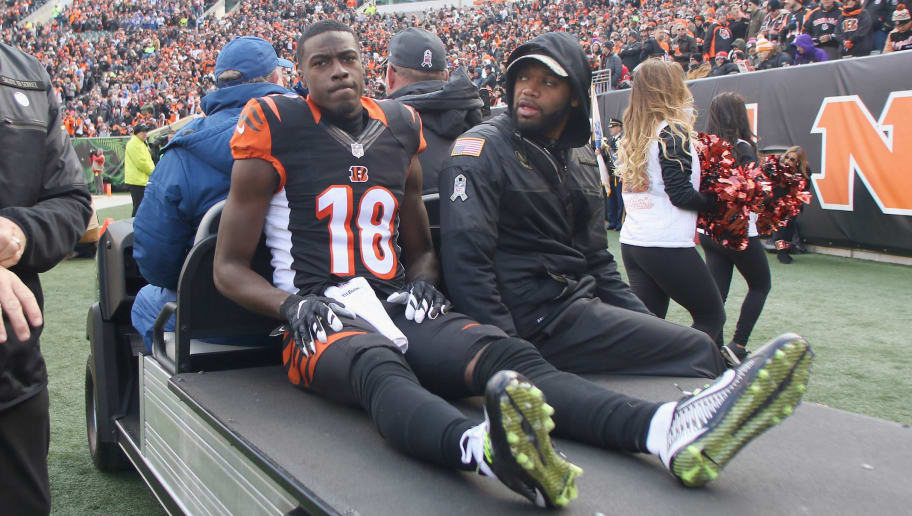 CINCINNATI, OH - NOVEMBER 20:  A.J. Green #18 of the Cincinnati Bengals is taken off the field on a cart after suffering a hamstring injury during the game against the Buffalo Bills at Paul Brown Stadium on November 20, 2016 in Cincinnati, Ohio.The Bills defeated the Bengals 16-12.  (Photo by John Grieshop/Getty Images)