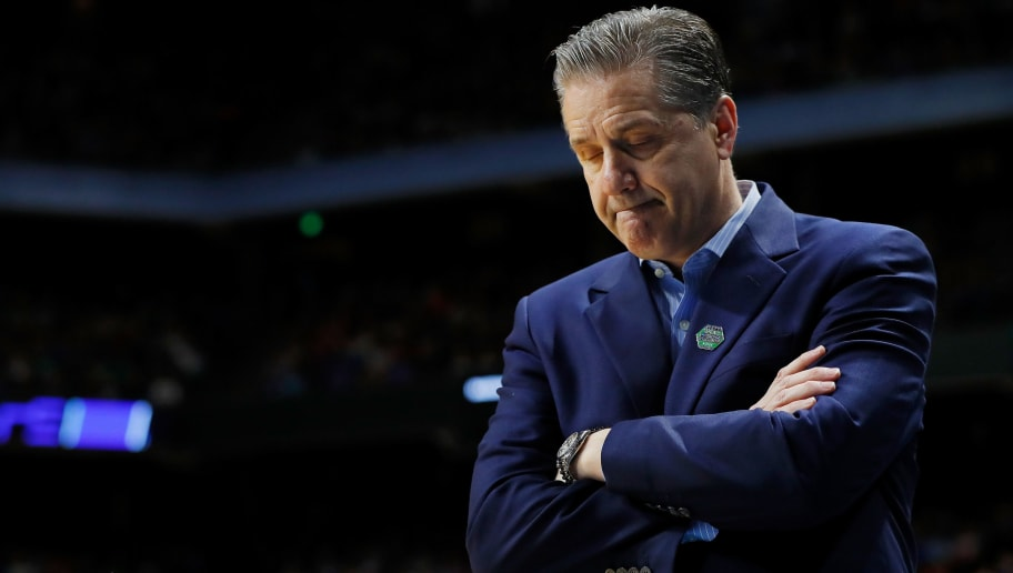 BOISE, ID - MARCH 17:  Head coach John Calipari of the Kentucky Wildcats reacts during the first half against the Buffalo Bulls in the second round of the 2018 NCAA Men's Basketball Tournament at Taco Bell Arena on March 17, 2018 in Boise, Idaho.  (Photo by Kevin C. Cox/Getty Images)