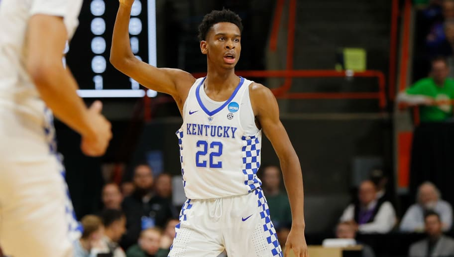 BOISE, ID - MARCH 17:  Shai Gilgeous-Alexander #22 of the Kentucky Wildcats reacts during the second half against the Buffalo Bulls in the second round of the 2018 NCAA Men's Basketball Tournament at Taco Bell Arena on March 17, 2018 in Boise, Idaho.  (Photo by Kevin C. Cox/Getty Images)
