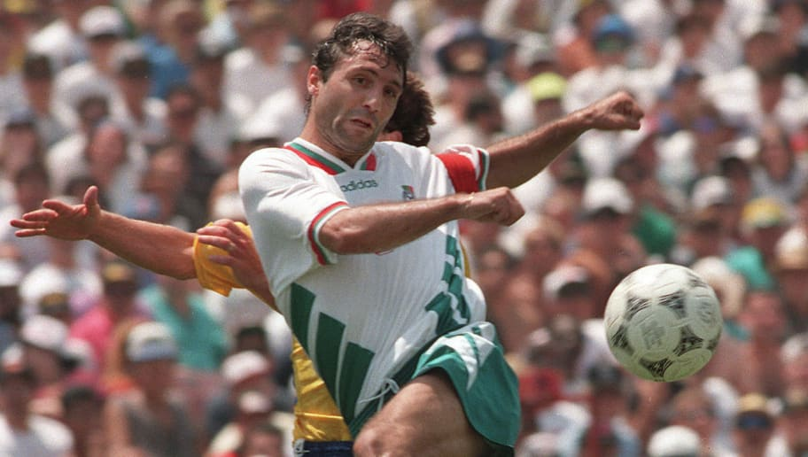LOS ANGELES, UNITED STATES:  Bulgarian midfielder Hristo Stoichkov shoots on goal during the World Cup soccer match for third place between Bulgaria and Sweden, 16 July 1994 at the Rose Bowl stadium in Los Angeles. AFP PHOTO/OMAR TORRES (Photo credit should read OMAR TORRES/AFP/Getty Images)