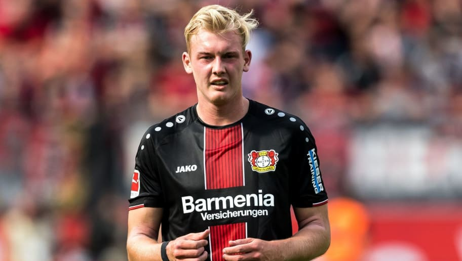 (L-R) Julian Brandt of Bayer 04 Leverkusen DFL REGULATIONS PROHIBIT ANY USE OF PHOTOGRAPHS AS IMAGE SEQUENCES AND/OR QUASI-VIDEO during the Bundesliga match between Bayer 04 Leverkusen and VFL Wolfsburg at the BayArena,  on September 01, 2018 in Leverkusen, Germany(Photo by VI Images via Getty Images)