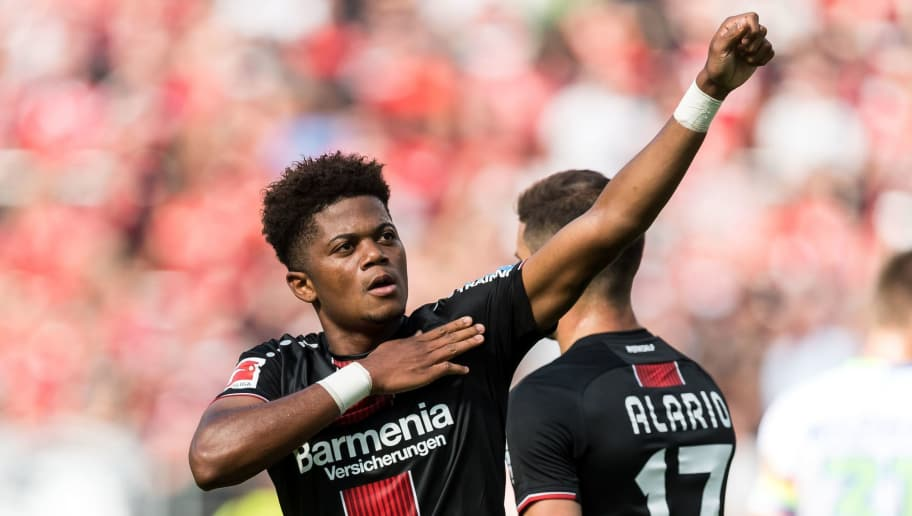 (L-R) Leon Bailey of Bayer 04 Leverkusen celebrate his goal DFL REGULATIONS PROHIBIT ANY USE OF PHOTOGRAPHS AS IMAGE SEQUENCES AND/OR QUASI-VIDEO during the Bundesliga match between Bayer 04 Leverkusen and VFL Wolfsburg at the BayArena,  on September 01, 2018 in Leverkusen, Germany(Photo by VI Images via Getty Images)