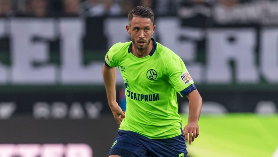 Mark-Alexander Uth of FC Schalke 04 DFL REGULATIONS PROHIBIT ANY USE OF PHOTOGRAPHS AS IMAGE SEQUENCES AND/OR QUASI-VIDEO. during the Bundesliga match between Borussia Monchengladbach and FC Schalke 04 at the Borussia-Park,  on September 15, 2018 in Monchengladbach, Germany(Photo by VI Images via Getty Images)
