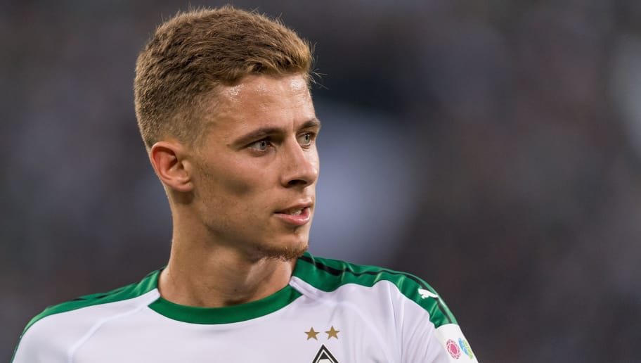 Thorgan Hazard of Borussia Mönchengladbach DFL REGULATIONS PROHIBIT ANY USE OF PHOTOGRAPHS AS IMAGE SEQUENCES AND/OR QUASI-VIDEO. during the Bundesliga match between Borussia Monchengladbach and FC Schalke 04 at the Borussia-Park,  on September 15, 2018 in Monchengladbach, Germany(Photo by VI Images via Getty Images)