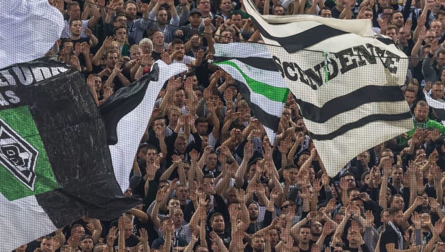 supporters of Borussia Monchengladbach DFL REGULATIONS PROHIBIT ANY USE OF PHOTOGRAPHS AS IMAGE SEQUENCES AND/OR QUASI-VIDEO. during the Bundesliga match between Borussia Monchengladbach and FC Schalke 04 at the Borussia-Park,  on September 15, 2018 in Monchengladbach, Germany(Photo by VI Images via Getty Images)