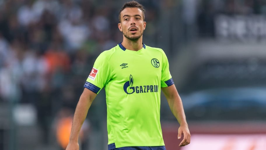 Franco Di Santo of FC Schalke 04 DFL REGULATIONS PROHIBIT ANY USE OF PHOTOGRAPHS AS IMAGE SEQUENCES AND/OR QUASI-VIDEO. during the Bundesliga match between Borussia Monchengladbach and FC Schalke 04 at the Borussia-Park,  on September 15, 2018 in Monchengladbach, Germany(Photo by VI Images via Getty Images)