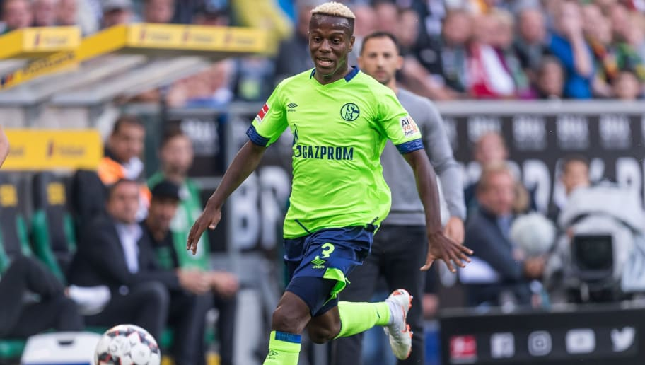 Hamza Mendyl of FC Schalke 04 DFL REGULATIONS PROHIBIT ANY USE OF PHOTOGRAPHS AS IMAGE SEQUENCES AND/OR QUASI-VIDEO. during the Bundesliga match between Borussia Monchengladbach and FC Schalke 04 at the Borussia-Park,  on September 15, 2018 in Monchengladbach, Germany(Photo by VI Images via Getty Images)