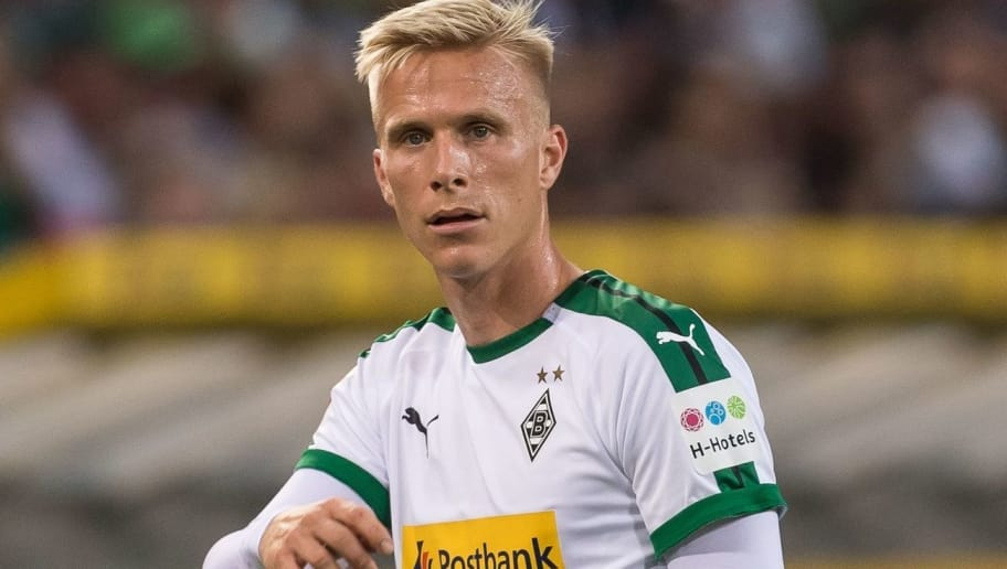 Oscar Wendt of Borussia Mönchengladbach DFL REGULATIONS PROHIBIT ANY USE OF PHOTOGRAPHS AS IMAGE SEQUENCES AND/OR QUASI-VIDEO. during the Bundesliga match between Borussia Monchengladbach and FC Schalke 04 at the Borussia-Park,  on September 15, 2018 in Monchengladbach, Germany(Photo by VI Images via Getty Images)