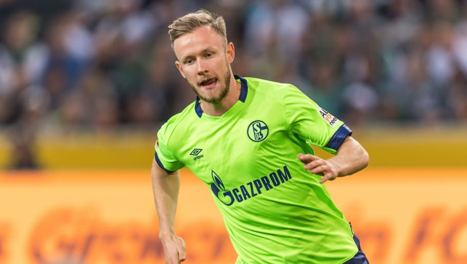 Cedric Teuchert of FC Schalke 04 DFL REGULATIONS PROHIBIT ANY USE OF PHOTOGRAPHS AS IMAGE SEQUENCES AND/OR QUASI-VIDEO. during the Bundesliga match between Borussia Monchengladbach and FC Schalke 04 at the Borussia-Park,  on September 15, 2018 in Monchengladbach, Germany(Photo by VI Images via Getty Images)
