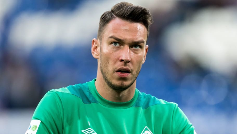 goalkeeper Jiri Pavlenka of Werder Bremen DFL REGULATIONS PROHIBIT ANY USE OF PHOTOGRAPHS AS IMAGE SEQUENCES AND/OR QUASI-VIDEO. during the Bundesliga match between FC Schalke 04 and SV Werder Bremen at the Veltins Arena on October 20, 2018 in Gelsenkirchen, Germany(Photo by VI Images via Getty Images)