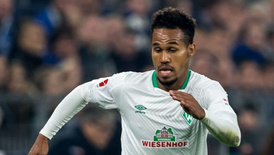 Theodor Gebre Selassie of Werder Bremen DFL REGULATIONS PROHIBIT ANY USE OF PHOTOGRAPHS AS IMAGE SEQUENCES AND/OR QUASI-VIDEO. during the Bundesliga match between FC Schalke 04 and SV Werder Bremen at the Veltins Arena on October 20, 2018 in Gelsenkirchen, Germany(Photo by VI Images via Getty Images)