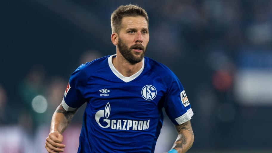 Guido Burgstaller of FC Schalke 04 DFL REGULATIONS PROHIBIT ANY USE OF PHOTOGRAPHS AS IMAGE SEQUENCES AND/OR QUASI-VIDEO. during the Bundesliga match between FC Schalke 04 and SV Werder Bremen at the Veltins Arena on October 20, 2018 in Gelsenkirchen, Germany(Photo by VI Images via Getty Images)