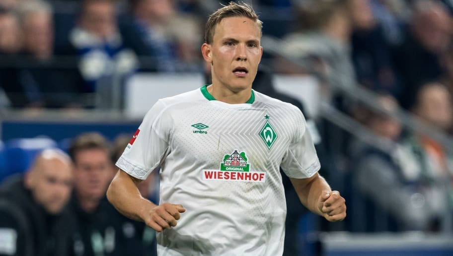Ludwig Augustinsson of Werder Bremen DFL REGULATIONS PROHIBIT ANY USE OF PHOTOGRAPHS AS IMAGE SEQUENCES AND/OR QUASI-VIDEO. during the Bundesliga match between FC Schalke 04 and SV Werder Bremen at the Veltins Arena on October 20, 2018 in Gelsenkirchen, Germany(Photo by VI Images via Getty Images)