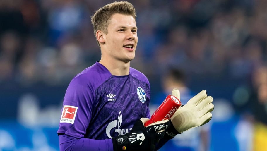 goalkeeper Alexander Nübel of FC Schalke 04 DFL REGULATIONS PROHIBIT ANY USE OF PHOTOGRAPHS AS IMAGE SEQUENCES AND/OR QUASI-VIDEO. during the Bundesliga match between FC Schalke 04 and SV Werder Bremen at the Veltins Arena on October 20, 2018 in Gelsenkirchen, Germany(Photo by VI Images via Getty Images)