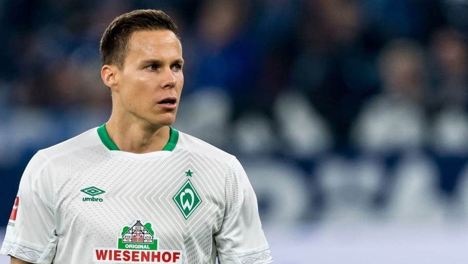 Niklas Moisander of Werder Bremen DFL REGULATIONS PROHIBIT ANY USE OF PHOTOGRAPHS AS IMAGE SEQUENCES AND/OR QUASI-VIDEO. during the Bundesliga match between FC Schalke 04 and SV Werder Bremen at the Veltins Arena on October 20, 2018 in Gelsenkirchen, Germany(Photo by VI Images via Getty Images)