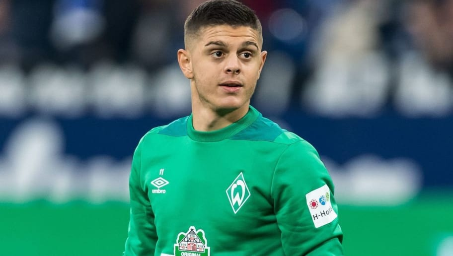Milot Rashica of Werder Bremen DFL REGULATIONS PROHIBIT ANY USE OF PHOTOGRAPHS AS IMAGE SEQUENCES AND/OR QUASI-VIDEO. during the Bundesliga match between FC Schalke 04 and SV Werder Bremen at the Veltins Arena on October 20, 2018 in Gelsenkirchen, Germany(Photo by VI Images via Getty Images)