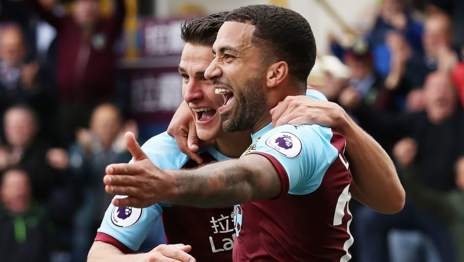 BURNLEY, ENGLAND - SEPTEMBER 22: Aaron Lennon of Burnley celebrates after scores his sides second goal during the Premier League match between Burnley FC and AFC Bournemouth at Turf Moor on September 22, 2018 in Burnley, United Kingdom. (Photo by Ian MacNicol/Getty Images)