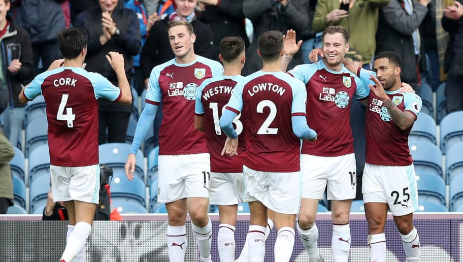 BURNLEY, ENGLAND - SEPTEMBER 22:  Ashley Barnes of Burnley celebrates with teammates after scoring his team's fourth goal during the Premier League match between Burnley FC and AFC Bournemouth at Turf Moor on September 22, 2018 in Burnley, United Kingdom.  (Photo by Ian MacNicol/Getty Images)