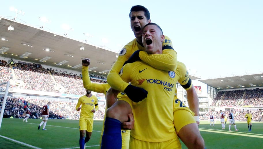 BURNLEY, ENGLAND - OCTOBER 28:  Ross Barkley of Chelsea celebrates with Alvaro Morata after scoring his teams second goal during the Premier League match between Burnley FC and Chelsea FC at Turf Moor on October 28, 2018 in Burnley, United Kingdom.  (Photo by Nigel Roddis/Getty Images)