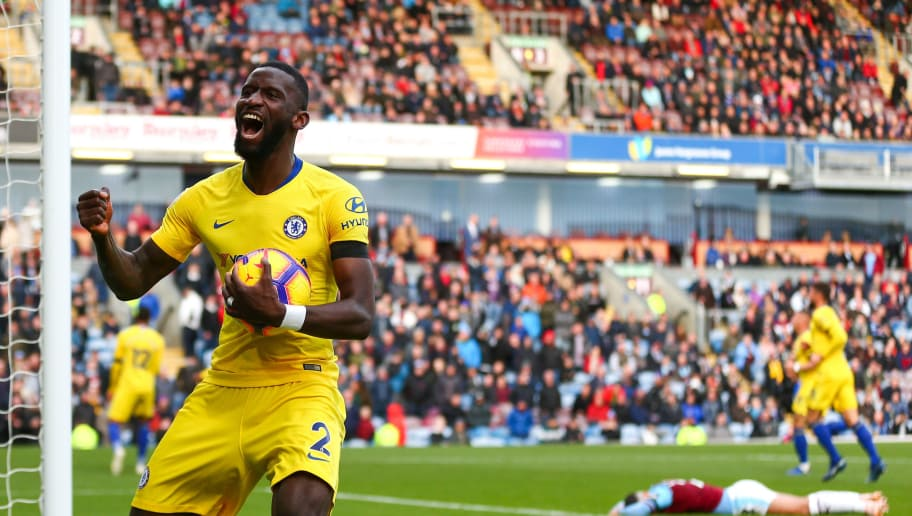BURNLEY, ENGLAND - OCTOBER 28: Antonio Rudiger of Chelsea celebrates after Ruben Loftus-Cheek of Chelsea scores a goal to make it 0-4 during the Premier League match between Burnley FC and Chelsea FC at Turf Moor on October 28, 2018 in Burnley, United Kingdom. (Photo by Robbie Jay Barratt - AMA/Getty Images)