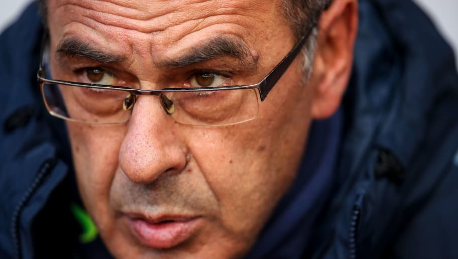 BURNLEY, ENGLAND - OCTOBER 28:  Maurizio Sarri head coach / manager of Chelsea during the Premier League match between Burnley FC and Chelsea FC at Turf Moor on October 28, 2018 in Burnley, United Kingdom. (Photo by Robbie Jay Barratt - AMA/Getty Images)