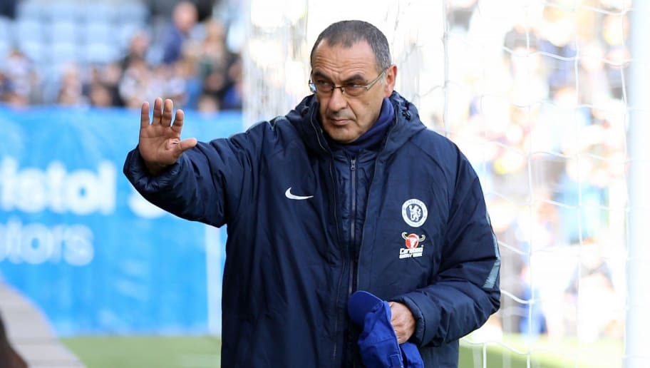 BURNLEY, ENGLAND - OCTOBER 28:  Maurizio Sarri, Manager of Chelsea acknowledges the fans prior to the Premier League match between Burnley FC and Chelsea FC at Turf Moor on October 28, 2018 in Burnley, United Kingdom.  (Photo by Nigel Roddis/Getty Images)