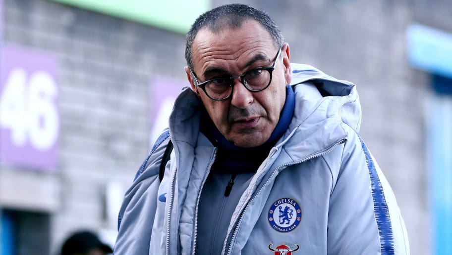 BURNLEY, ENGLAND - OCTOBER 28:  Maurizio Sarri, Manager of Chelsea arrives at the stadium prior to the Premier League match between Burnley FC and Chelsea FC at Turf Moor on October 28, 2018 in Burnley, United Kingdom.  (Photo by Jan Kruger/Getty Images)