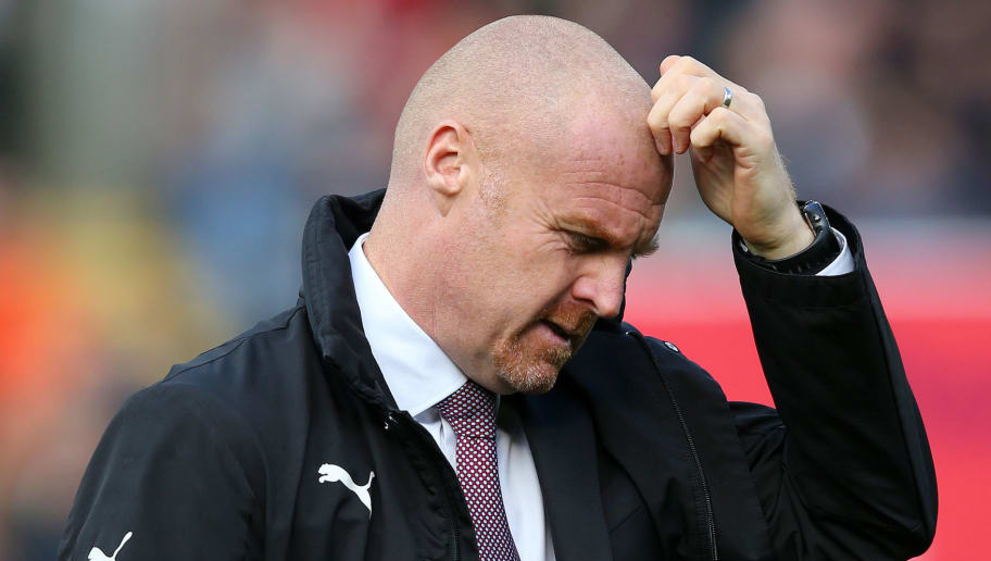 BURNLEY, ENGLAND - OCTOBER 06:  Sean Dyche, Manager of Burnley scratches his head prior to the Premier League match between Burnley FC and Huddersfield Town at Turf Moor on October 6, 2018 in Burnley, United Kingdom.  (Photo by Alex Livesey/Getty Images)