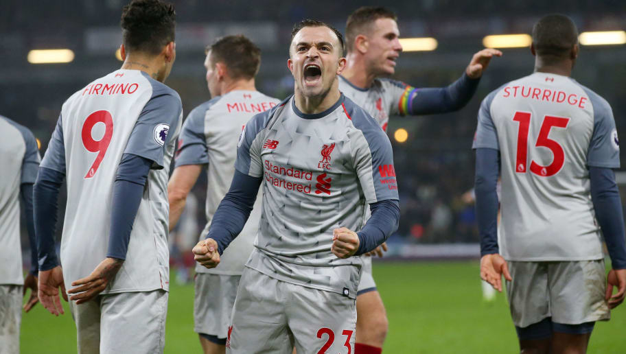 BURNLEY, ENGLAND - DECEMBER 05:  Xherdan Shaqiri of Liverpool celebrates after scoring his team's third goal during the Premier League match between Burnley FC and Liverpool FC at Turf Moor on December 5, 2018 in Burnley, United Kingdom.  (Photo by Alex Livesey/Getty Images)