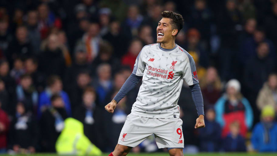 BURNLEY, ENGLAND - DECEMBER 05:  Roberto Firmino of Liverpool celebrates after scoring his team's second goal during the Premier League match between Burnley FC and Liverpool FC at Turf Moor on December 5, 2018 in Burnley, United Kingdom.  (Photo by Alex Livesey/Getty Images)