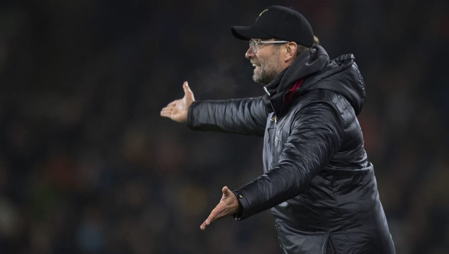 BURNLEY, ENGLAND - DECEMBER 05: Liverpool manager Jurgen Klopp shots instruction to his team during the Premier League match between Burnley FC and Liverpool FC at Turf Moor on December 5, 2018 in Burnley, United Kingdom. (Photo by Visionhaus/Getty Images)