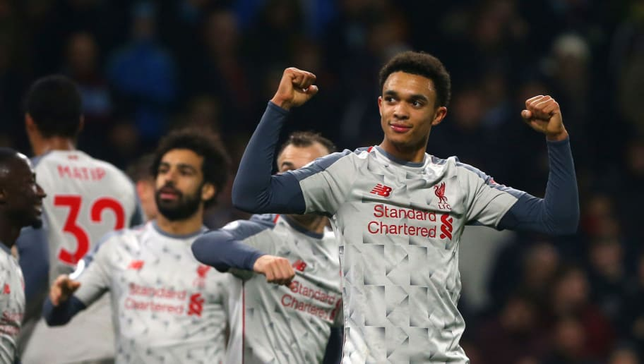 BURNLEY, ENGLAND - DECEMBER 05, Trent Alexander-Arnold of Liverpool celebrates his teams second goal during the Premier League match between Burnley FC and Liverpool FC at Turf Moor on December 5, 2018 in Burnley, United Kingdom. (Photo by Chloe Knott - Danehouse/Getty Images)