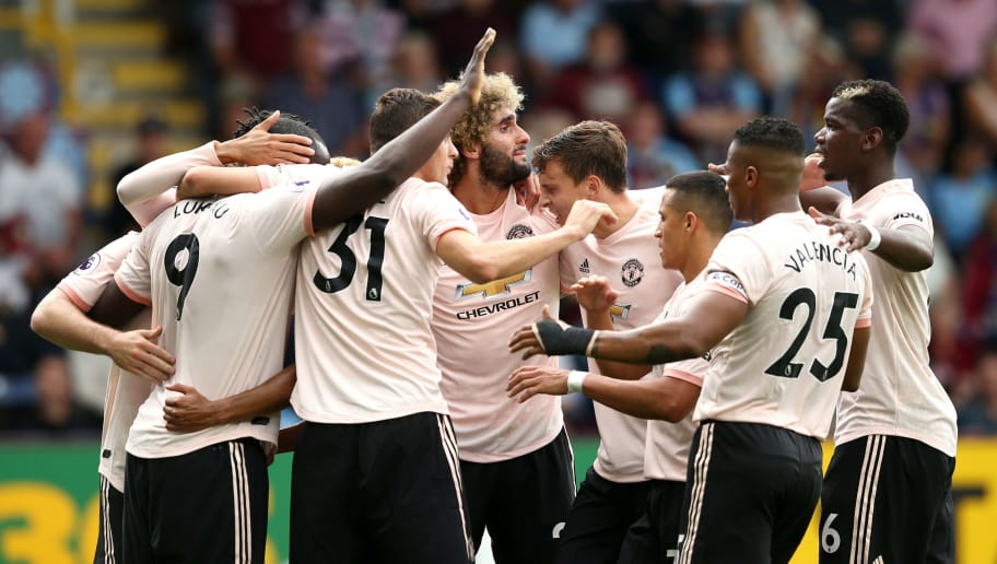 BURNLEY, ENGLAND - SEPTEMBER 02:  Romelu Lukaku of Manchester United (9) celebrates after scoring his team's first goal with team mates during the Premier League match between Burnley FC and Manchester United at Turf Moor on September 2, 2018 in Burnley, United Kingdom.  (Photo by Jan Kruger/Getty Images)